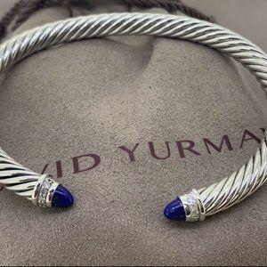 David Yurman Lapis and Diamond Cuff Bracelet EUC